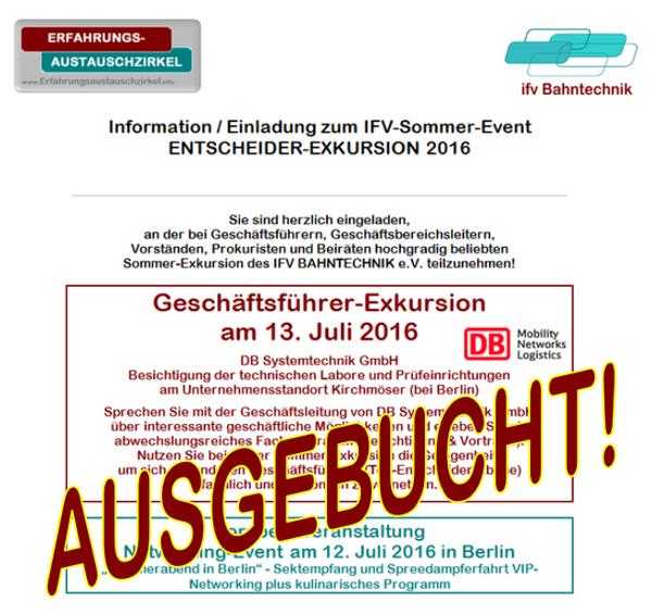VIP-SOMMER-EXKURSION (für Führungskräfte) @ Treffpunkt Bahnhof Kirchmöser | Brandenburg an der Havel | Brandenburg | Deutschland