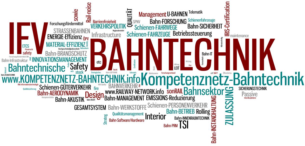 IFV BAHNTECHNIK e.V. - Stichwortwolke - Kompetenznetz Bahntechnik